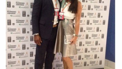 Fitness Celebrities Jenny & Wayne present awards at the Running Awards 2015